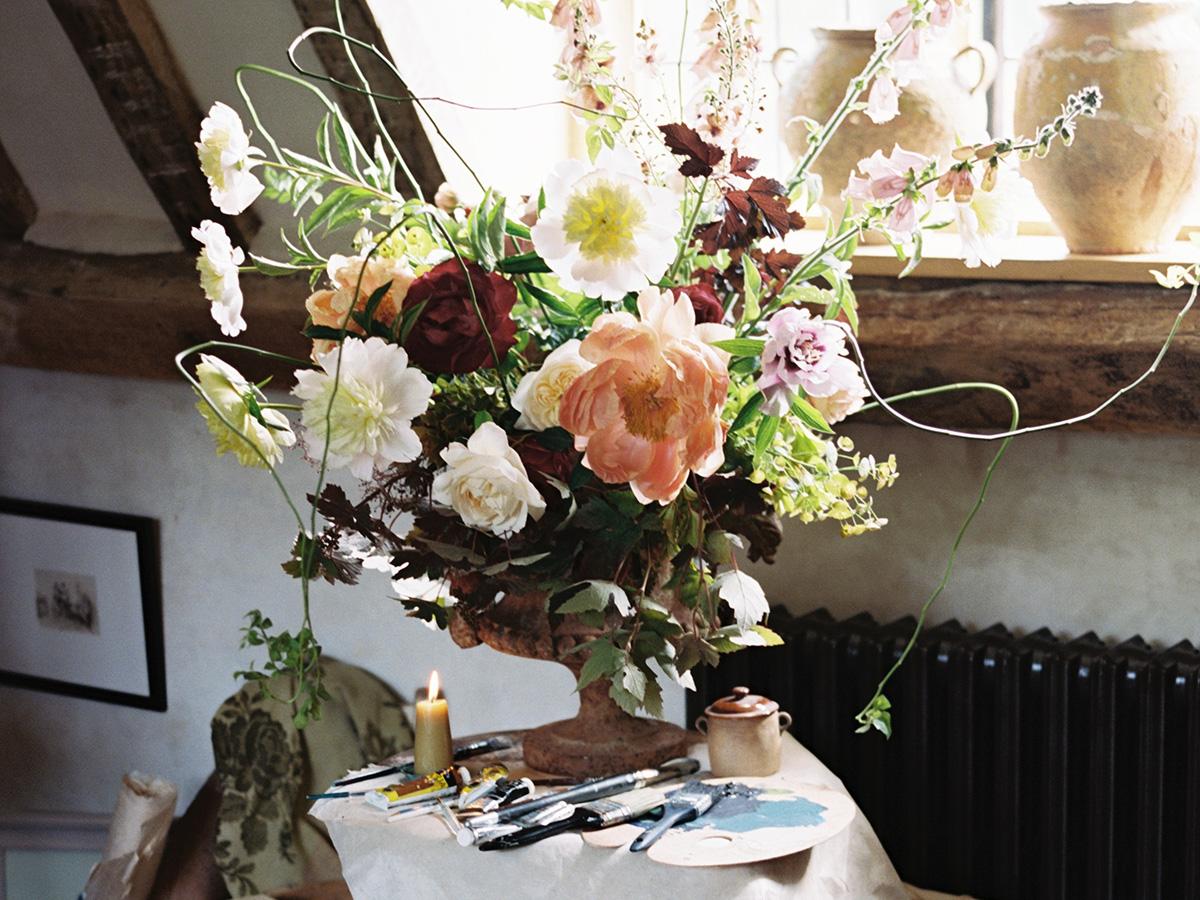 Flower arranging at Hales Hall